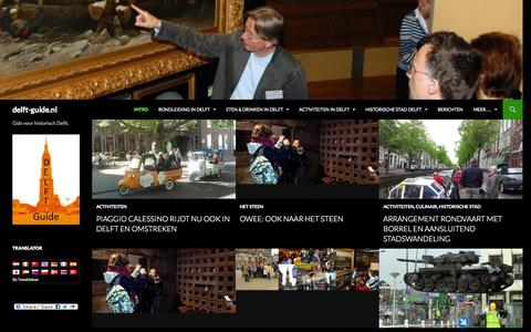 Screenshot of Home Page delft-guide.nl - Delft Guide: gids voor historisch Delft - captured Sept. 30, 2014