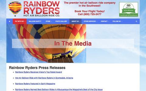Screenshot of Press Page rainbowryders.com - Rainbow Ryders Press Releases - captured Sept. 29, 2016