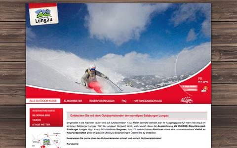 Screenshot of Home Page outdoor-lungau.at - Übersicht über alle Outdoor-Kurse im Lungau - Outdoorprogramm im Lungau - captured April 14, 2016