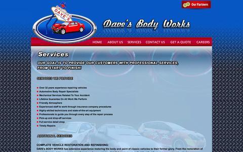 Screenshot of Services Page davesbodyworks.com - :: Dave's Body Works :: - captured Sept. 30, 2014
