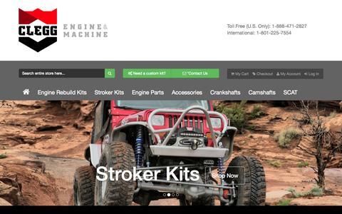 Screenshot of Home Page cleggengine.com - Engine Rebuild Kits - Overhaul Kits - Stroker Kits - Cylinder Heads - captured Sept. 19, 2015
