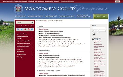 Screenshot of FAQ Page montcopa.org - Montgomery County, PA - Official Website - captured Nov. 4, 2014