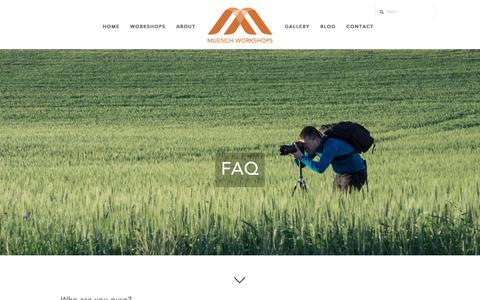 Screenshot of FAQ Page muenchworkshops.com - FAQ — Muench Workshops - captured June 13, 2017