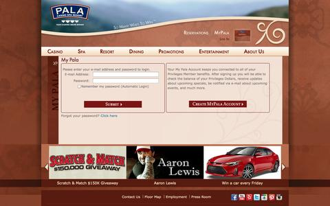 Screenshot of Login Page palacasino.com - My Pala | Pala Casino - captured Sept. 25, 2014
