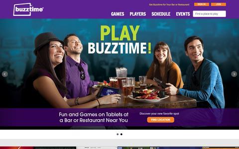 Screenshot of Home Page buzztime.com - Buzztime | Bar Trivia, Live Trivia, Cards & Sports Games - captured Jan. 15, 2015