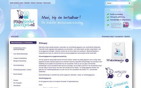 Screenshot of Privacy Page mijnkinderkleertjes.nl - Privacy | Mijnkinderkleertjes.nl | Kinderkleding - captured Nov. 4, 2014