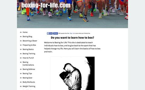 Screenshot of Home Page boxing-for-life.com - How to Box - captured June 13, 2016