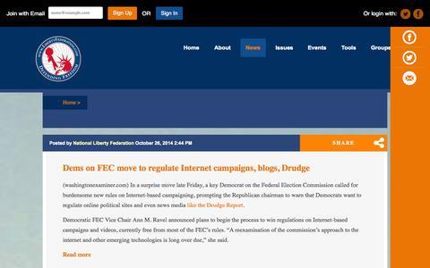 Screenshot of Blog Press Page libertyfederation.com - National Liberty Federation blog - captured Oct. 27, 2014