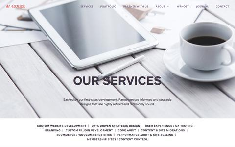Screenshot of Services Page ran.ge - Our Services - Range - captured June 21, 2017