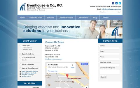 Screenshot of Contact Page evenhousecpas.com - Contact our Elmhurst Accounting & Tax Firm - captured Aug. 22, 2017