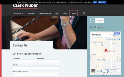 Screenshot of Contact Page clarknuber.com - Contact Us - Clark Nuber - captured July 18, 2018