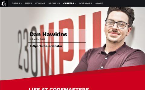 Screenshot of Jobs Page codemasters.com - Careers - Codemasters - Racing Ahead - captured Sept. 28, 2018