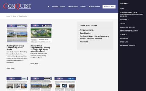 Screenshot of Case Studies Page conquest.ltd.uk - Case Studies and Testimonials | ConQuest - captured Jan. 15, 2017