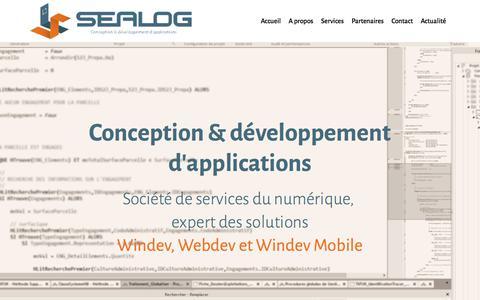 Screenshot of Home Page Services Page sealog.fr - SEALOG - captured July 25, 2018