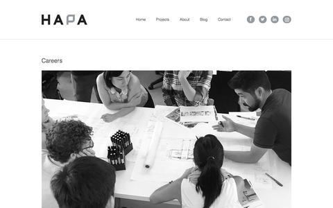 Screenshot of Jobs Page hapacobo.com - Careers  |  Hapa Collaborative - captured July 15, 2017