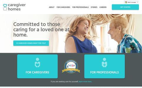 Screenshot of Home Page caregiverhomes.com - Family Caregiver In-Home Care Support   Caregiver Homes - captured July 2, 2016