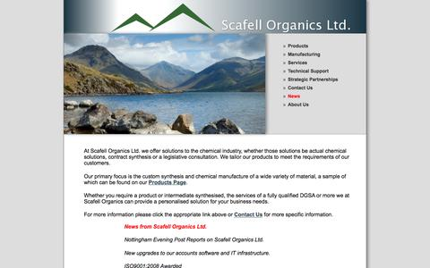 Screenshot of Home Page scafellorganics.com - Scafell Organics Ltd for organic synthesis, solution preparation, technical support, repacking services, export packing and storage and distribution - captured Feb. 4, 2016