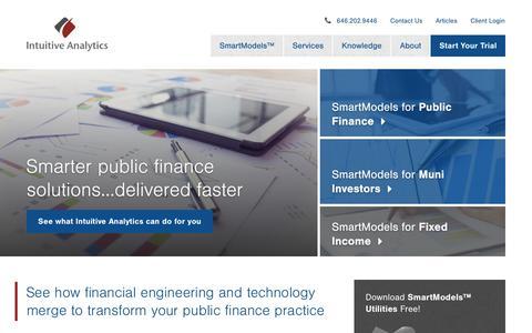 Screenshot of Home Page intuitive-analytics.com - Financial Software   Bond Utilities   Public Finance   Intuitive Analytics - captured Dec. 5, 2015