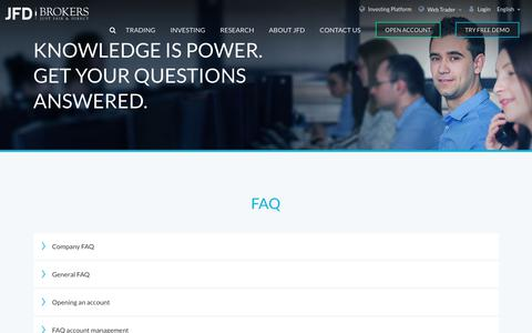 Screenshot of FAQ Page jfdbrokers.com - Frequently Asked Questions   FAQs   JFD Brokers - captured Oct. 1, 2018