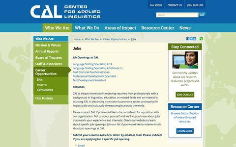 Screenshot of Jobs Page cal.org - Jobs - captured Sept. 18, 2014