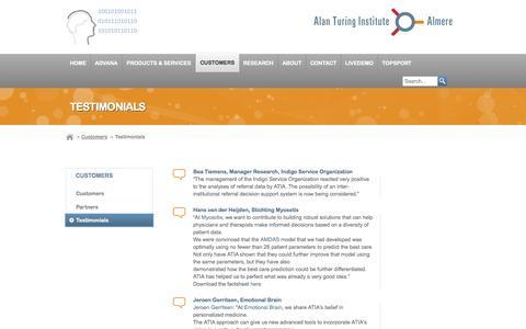 Screenshot of Testimonials Page ati-a.nl - Testimonials | Alan Turing Institute Almere - captured Oct. 4, 2014