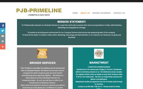 Screenshot of About Page pjbprimeline.com - About Us - captured Oct. 1, 2014