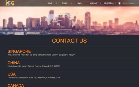 Screenshot of Contact Page igg.com - Contact Us - I GOT GAMES - Global Free Online Games Portal - captured May 9, 2017