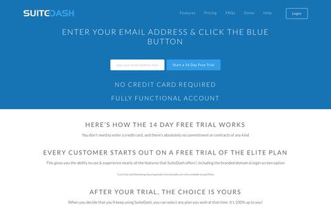 Screenshot of Trial Page suitedash.com - Get started FREE right now & be up and running in less than 2 minutes! :: SuiteDash :: SaaS Project Management Software :: Branded White Label Client Portals, CRM, File Sharing, Invoicing - captured July 8, 2018