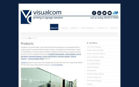 Screenshot of Products Page visualcom.com.au - Products - Visualcom - captured Jan. 11, 2016