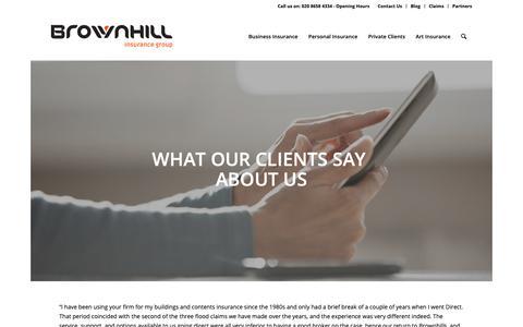 Screenshot of Testimonials Page brownhillgroup.co.uk - Client Testimonials - Brownhill Insurance Group - captured Oct. 6, 2018