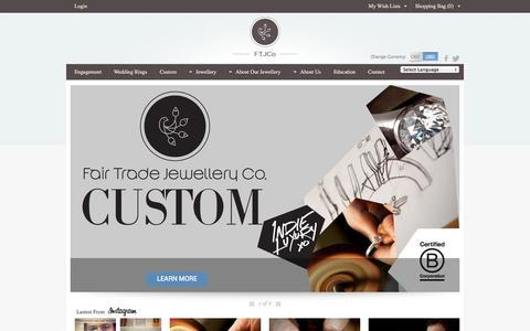 Screenshot of Home Page ftjco.com - Canadian Diamond Engagement Rings & Wedding Bands | Fair Trade Jewellery Company, Toronto, Canada - captured Oct. 5, 2014