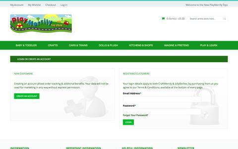 Screenshot of Login Page playmerrilytoys.co.uk - Customer Login - captured Nov. 28, 2016