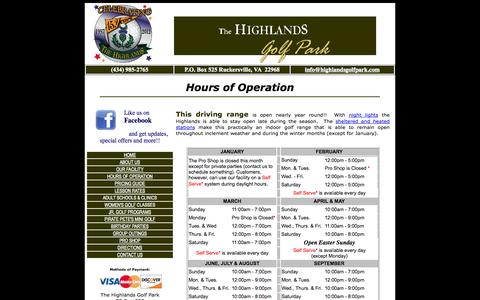 Screenshot of Hours Page highlandsgolfpark.com - Driving Range and Mini Golf Hours of Operation - captured Sept. 30, 2014