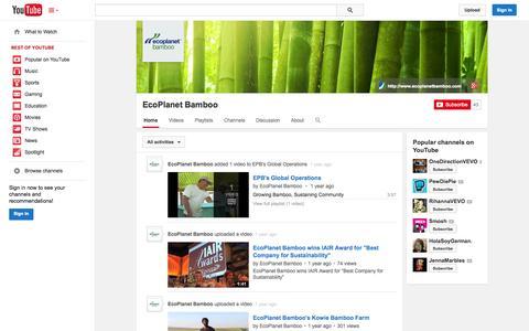 Screenshot of YouTube Page youtube.com - EcoPlanet Bamboo  - YouTube - captured Oct. 22, 2014