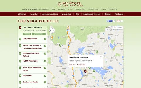 Screenshot of Maps & Directions Page opecheeinn.com - Interactive Laconia, NH Hotel Map - Lake Opechee Inn and Spa - captured Jan. 24, 2016