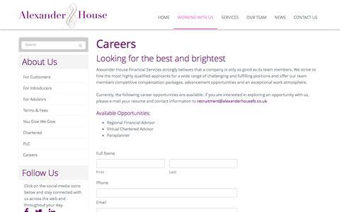 Screenshot of Jobs Page alexanderhousefs.co.uk - Careers   Alexander House Financial Services, United Kingdom - captured Feb. 5, 2016