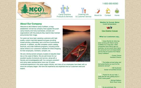 Screenshot of About Page maine-camp.com - About Maine Camp Outfitters Clothing and Gear for Camps - captured Oct. 2, 2018