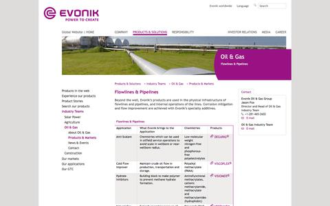 flowlines-pipelines - Evonik Industries - Specialty Chemicals