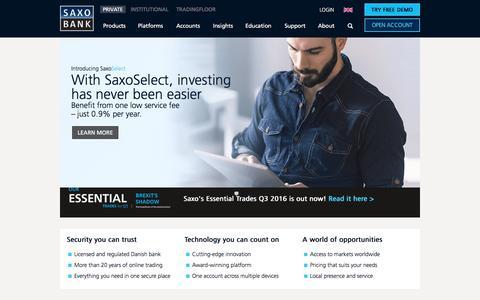 Screenshot of Home Page saxobank.com - Saxo Bank | Serious Trading Worldwide - captured Aug. 21, 2016
