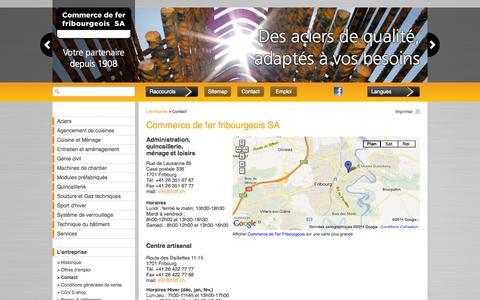 Screenshot of Contact Page cdff.ch - Commerce de fer, Fribourg : Commerce de fer fribourgeois SA - captured Oct. 2, 2014