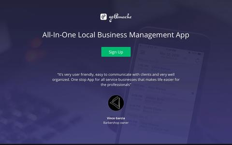 Screenshot of Signup Page gopanache.com - Getstarted - goPanache: All In One Local Business Management App - captured July 25, 2018