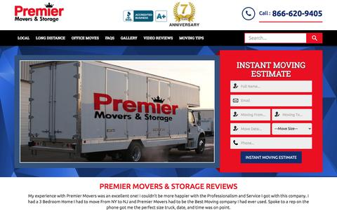 Screenshot of Home Page premier-movers.com - Home - NJ Movers Who Care - Premier Movers - captured May 21, 2017