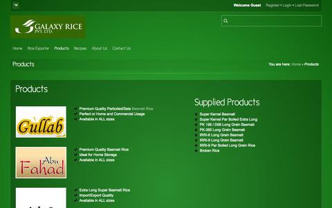 Screenshot of Products Page galaxyrice.com - Galaxy Rice  |  Products - captured Oct. 1, 2014
