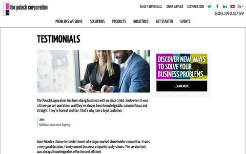 Screenshot of Testimonials Page polackcorp.com - Testimonials | The Polack Corporation - captured Oct. 18, 2018