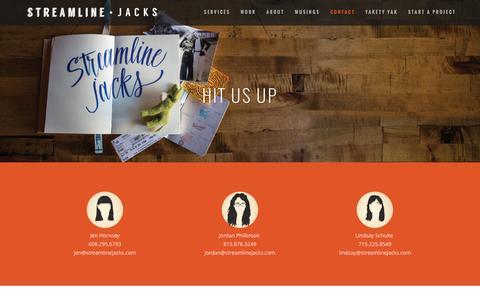 Screenshot of Contact Page streamlinejacks.com - Contact - Streamline Jacks - captured Feb. 25, 2016