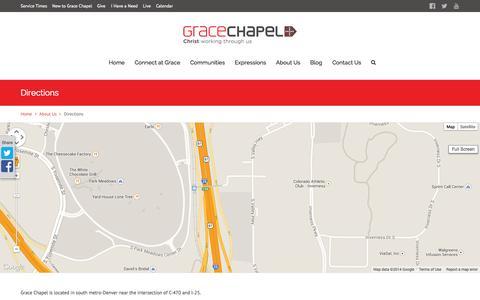 Screenshot of Maps & Directions Page gracechapel.org - Directions – Grace Chapel - captured Sept. 30, 2014