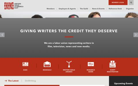 Screenshot of Home Page wgaeast.org - Home - Writers Guild Of America East Writers Guild Of America East - captured Oct. 18, 2018