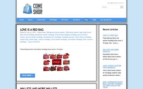 Screenshot of Blog comeandshop.com.au - Come & Shop® — Handbags - captured Oct. 2, 2014