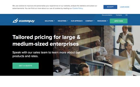 Screenshot of Pricing Page ecommpay.com - Tailored Pricing | ECOMMPAY — Global Payment Service Provider - captured Feb. 8, 2020