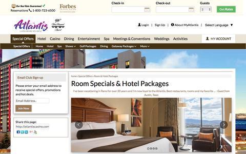 Screenshot of atlantiscasino.com - Room and Hotel Packages | Atlantis Hotel Reno - captured Aug. 24, 2016